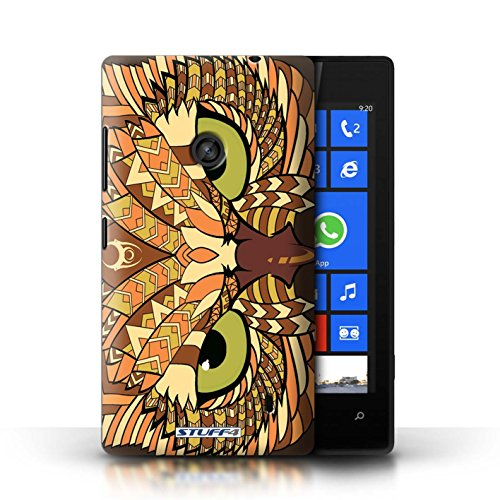 Etui / Coque pour Nokia Lumia 520 / éléphant-Couleur conception / Collection de Motif Animaux Aztec Hibou-Orange