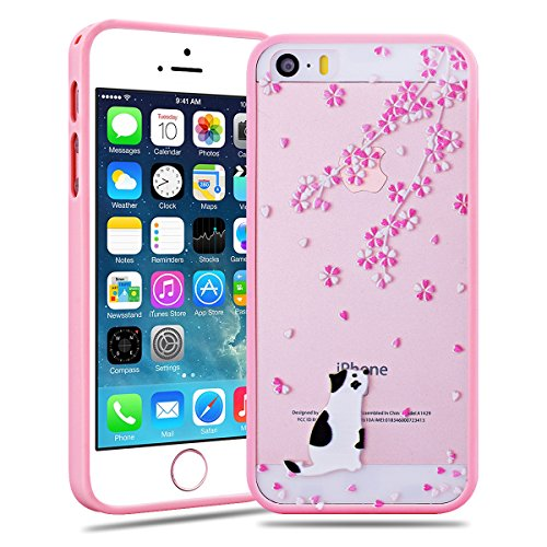 SMARTLEGEND Custodia per iPhone 5 5G 5S / iPhone SE Durevole Anti shock Cover TPU Soft Bumper Cover + Transparente Acrylic Hard Candy Case Coperture Posteriori Silicone Gel e PC Back Shell Protettiva  E Bianco Gatto