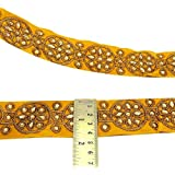 Cinta bordada Frontera floral amarillo Recorte Sari 4,0 cm de ancho Recortar Por The Yard