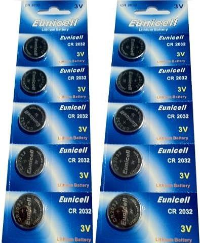 10 x CR2032 3V Lithium Knopfzelle 210 mAh ( 2 Blister a 5 Batterien ) CR-2032 , DL2032 , ECR2032 , L14 , 5004LC , EA-2032C Markenware