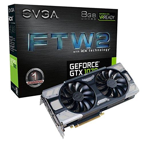 EVGA GeForce GTX 1070 FTW2 GAMING, 8GB GDDR5, iCX Technology - 9 Cattori termici & RGB LED G/P/M, Ventola asincrona,Design ottimizzato del flusso d'aria Scheda Grafica 08G-P4-6676-KR