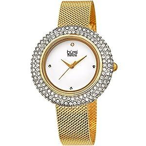 Burgi BUR220 Damen-Armbanduhr, mit Swarovski-Kristallen und Diamanten, Edelstahl