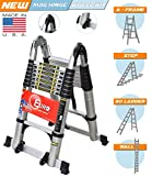 [Sale] Euro Double Telescopic Aluminium ladder 5 meter (16.4 feet) - Stores at 3 feet - Made in USA - A Frame 9 feet - Wall Support 17 feet - New Tip n Glide Wheel kit , Mag Hinge & Dual Ultra Stabilizer - Ultra portable
