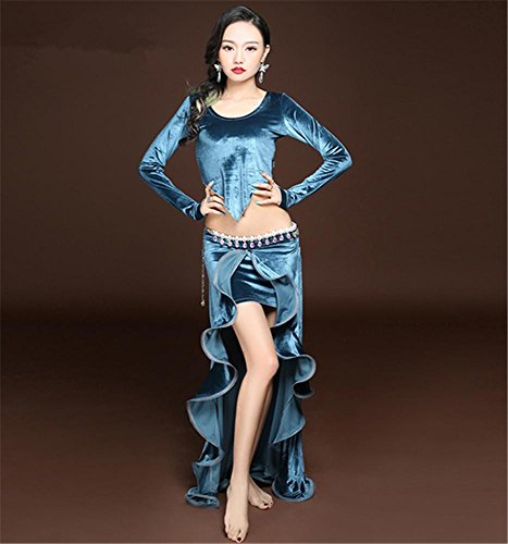 Hiver à manches longues flanelle de danse du ventre costume / 2pcs / tops + jupe Blue