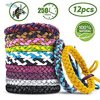 Mosquito Repellent Bracelet,AODOOR Mosquito Bracelet Natural Plant-Based Oil Mosquito Wrist Bands-Non-Toxic-Soft Material for Kids, Babies, Adults, Men and Women, Outdoor and Indoor(12 Packs)