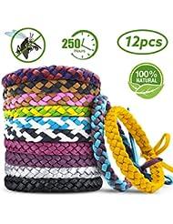 AODOOR Bracelets Anti Moustique, Premium Bracelets Anti-moustiques, Extérieure Intérieure 100% Naturel Bracelets Anti Moustique (12 Packs)