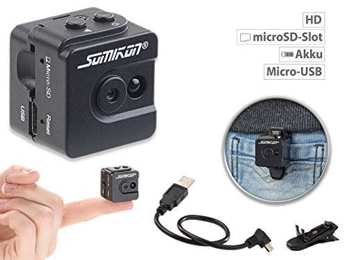 Somikon Überwachungskamera Mini: Ultrakompakte Micro-Videokamera mit HD-720p-Auflösung & LED-Nachtsicht (Kleine Kamera)