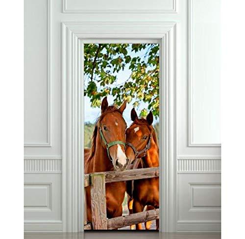 BAIYUDE DIY 3D Wandaufkleber Wandhauptdekor Pferde Stall Scheune Abnehmbare Tür Aufkleber Decole 77X200 cm