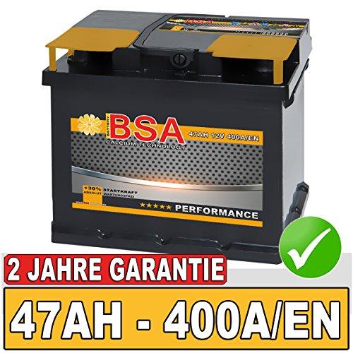 BSA Autobatterie 47Ah Starterbatterie ersetzt 40Ah 44Ah 45Ah 46Ah 50Ah