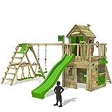 FATMOOSE Spielturm CrazyCat Comfort XXL Baumhaus Kletterturm mit Schaukel und Rutsche, Surfanbau, Ladentheke, Kletterwand und Spielhaus auf Podest mit Holzdach