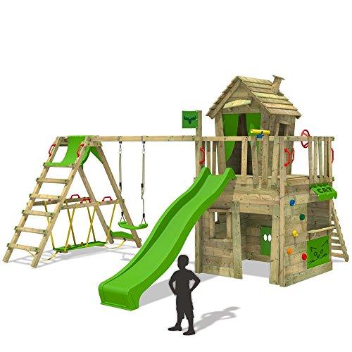 #FATMOOSE Spielturm CrazyCat Comfort XXL Baumhaus Kletterturm mit Schaukel und Rutsche, Surfanbau, Ladentheke, Kletterwand und Spielhaus auf Podest mit Holzdach#