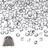 APLANET 1000 Stück klare Hochzeit Tischstreuung Kristalle Acryl Diamanten Hochzeit Brautparty Dekoration Vase Füller 10 mm mit 1 großen Samtbeutel