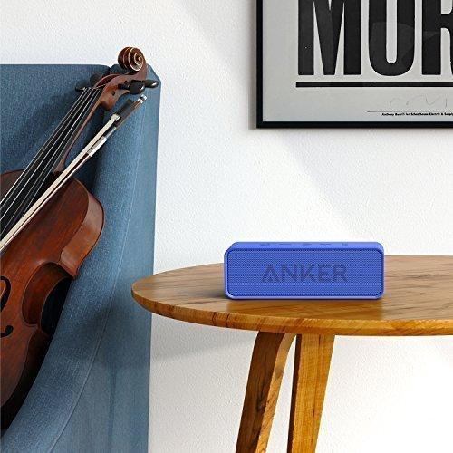Anker SoundCore - Mobiler Bluetooth 4.0 Lautsprecher mit unglaublicher 24-Stunden-Akkulaufzeit und Dual-Treiber Wireless Speaker mit reinem Bass und eingebautem Mikrofon für iPhone, iPad, Samsung, Nexus, HTC und andere Android Geräte (Blau)