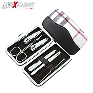 AllExtreme 6 pcs Stainless Steel Nail Clipper Set Manicure Pedicure Set Grooming Kit with PU Leather Case for Tools