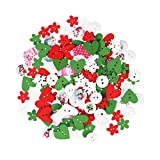 ROSENICE Botones de Madera Botones para Manualidades en Forma de Corazón Flor Copo de Nieve Paquete de 40 g