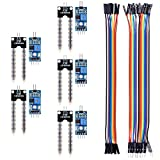 Kuman 5PCS Boden Feuchtigkeitssensor Modul Kit Kompatibel mit Raspberry pi 3 PI 2 RPI 1 Modell B + B Arduino Uno R3 Mega 2560 mit 10PIN Female to Female DuPont Jump Wire 20PIN Female to Female DuPont Jump Wire Automatisches Bewässerungssystem KY70