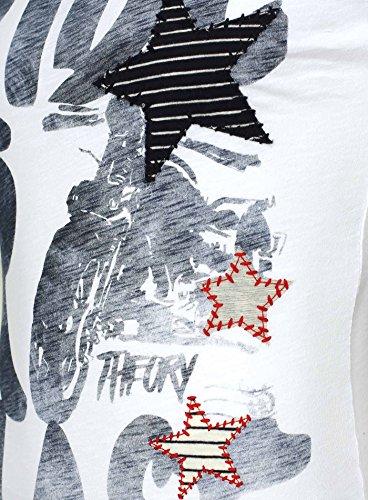 Key Largo Herren T-Shirt OUTBACK Vintage Print Stern Applikationen Rider Blast Motorrad Weiß