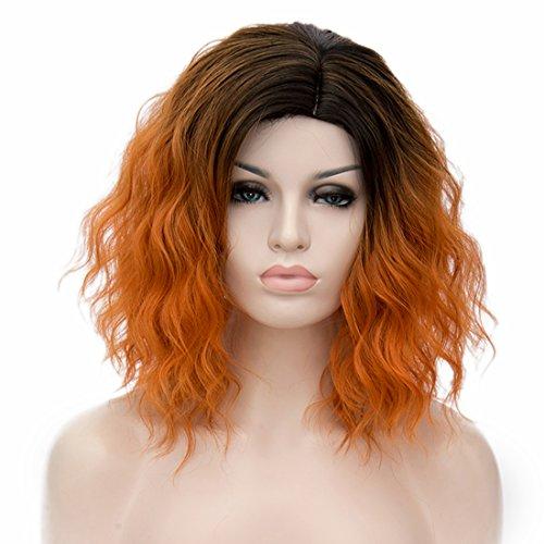 ge Ombre Synthetische Cosplay Bob Perücken Mit Dunklen Wurzeln Für Frauen Kostüm Mit 1 Frei Perücke Kappe (Orange) ()