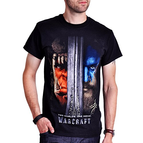 Warcraft - T-Shirt Poster motivo Two Worlds One Home - Nero - XL