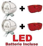 2 x KIT Fanale Luce Anteriore + 2 x Fanale Posteriore al Portapacco LED bicicletta Olanda - R - Graziella - Vintage - City Bike - Uomo / Donna - BATTERIE INCLUSE