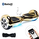BEBK 6.5 Zoll Hoverboard, Self Balancing Scooter mit Bluetooth Lautsprecher - Tragetasche - LED Lights Elektro Scooter (APP-Silver)