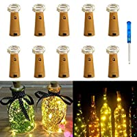 10 Pack Bottle Lights,IBanana Cork Shaped 20 Micro LEDs String Lights with Screwdriver Wine Bottle Glass Decor DIY Lights for Party Birthday Christmas Wedding Home Table Décor (Warm White)