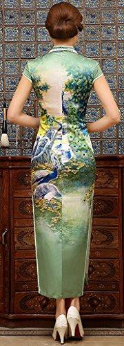 Eyekepper Robe femme courte manche robe soiree chinoise Qipao Cheongsam Blanc
