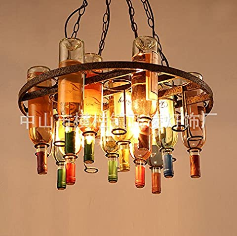 CU@EY Colored glass wine bottle chandelier , square large 1m