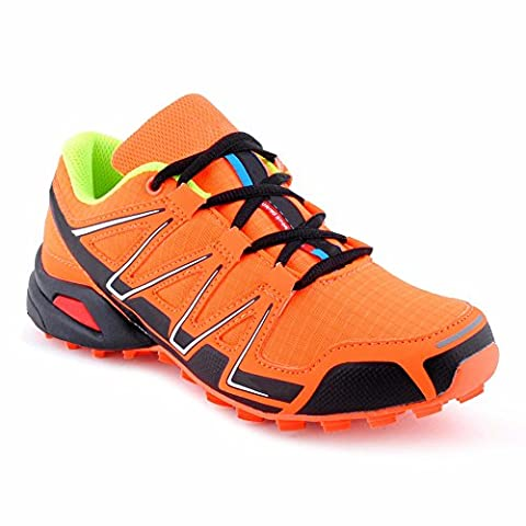 Herren Damen Sneaker Sportschuhe Neon Schnür Lauf Freizeit Fitness Runner Low Top Unisex Schuhe Orange/Grün-W EU 40