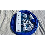 DGRPRODUCTS 12m CAMPING ELECTRIC HOOK UP WITH 4 WAY SOCKET CLIP ON LIGHT AND NIGHT LIGHT BLUE 66