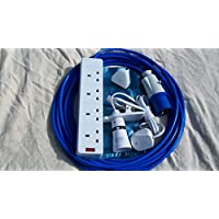 12m CAMPING ELECTRIC HOOK UP WITH 4 WAY SOCKET CLIP ON LIGHT AND NIGHT LIGHT BLUE 10