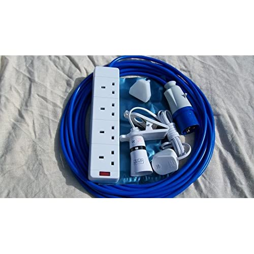51rod Rm9wL. SS500  - 12m CAMPING ELECTRIC HOOK UP WITH 4 WAY SOCKET CLIP ON LIGHT AND NIGHT LIGHT BLUE
