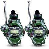 Walkie Talkie, kingtoys® 1 Pair de Relojes Walkie Talkie Intercomunicadores Inalambricos 7 en 1 Reloj de los Niños al Aire Libre Radio Juguete, Verde