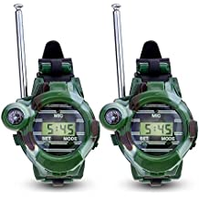 Walkie Talkie, kingtoys® 1 Pair de Relojes Walkie Talkie Intercomunicadores Inalambricos 7 en 1 Reloj de los Niños al Aire Libre Radio Juguete, Verde