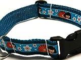 Hundehalsband petrol mit - JAPANISCHE GEISHA - Breite: 2,5 cm - Länge verstellbar von ca. 33 cm bis ca. 57 cm - Größe: L - mit Steckschließe und D-Ring - Hunde-Halsband - Geschenk Weihnachten Geburtstag Muttertag Vatertag - Clickverschluss / Click-Halsband