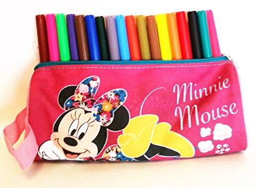 Estuche rectangular escolar Minnie Mouse (Disney) 100% polyester, cremallera de metal (20 x 8 x 6 cms) + 18 rotuladores multicolores