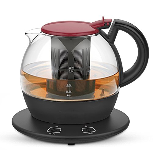 Kettle FEIFEI Electric High Borosilicate Glass Black Double Anti-hot 1800W 1.0L Separable Base Automatic Power Off Insulation Home   Travel Easy to move