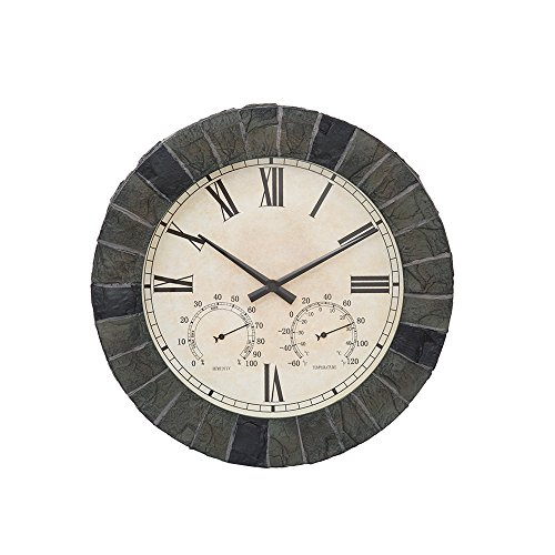 KCT 5060345218817 Outdoor Mosaic Effect Clock, Grey, 45 x 41 x 11 cm