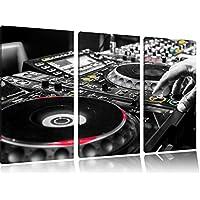 Illuminato Moderno 3 pezzi immagine DJ Console nero / bianco Immagine tela 120x80 su tela, XXL enormi immagini completamente Pagina con la barella, stampe d'arte sul murale cornice gänstiger come la pittura o un dipinto ad olio, non un manifesto o un