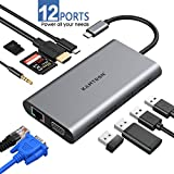 FITFORT USB C Adapter 12 Port Aluminium USB C Hub, Dual-Display, mit 4K-HDMI,VGA, 2 USB 3.0 Ports,...