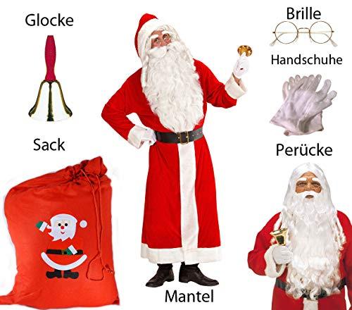 (Scherzwelt Santa Claus Kostüm XL - Weihnachtsmann Set - Komplett in XL m Brille)