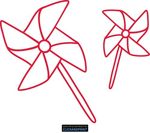 Preisvergleich Produktbild CLICKANDPRINT Aufkleber » Windräder, 110x90,0cm, Blutrot • Dekoaufkleber / Autoaufkleber / Sticker / Decal / Vinyl