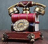 URGrace 16 cm Retro-Telefon Kunstharz Figur Spardose Vintage Spardose Coin Bank Saving Pot Rotary-Telefon Geburtstag Geschenk Coffee shop Statue Dekoration, rot