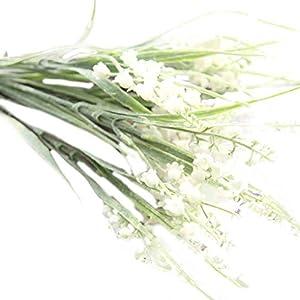 Sunlera Ramo de Flores Artificiales Pequeñas Campanas con Hojas Verdes para Decoración de Fiestas en el hogar