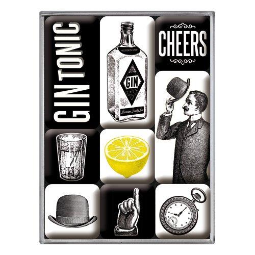 Nostalgic-Art 83105 Gin Tonic | Retro Magnet-Set (9teilig) | Kühlschrank-Magnete | Vintage