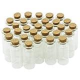 COM-FOUR® 30x Mini Glasfläschchen mit Korkverschluss, für Öle oder Gewürze, ca. 10 ml (30 Stück)