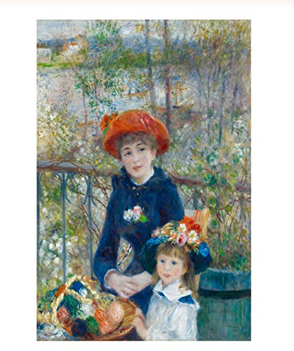 NVRENHUA Zwei Schwestern auf der terrasse impressionismus ölgemälde Renoir Poster und Druck leinwand Kunst giclee wandbild für Wohnzimmer 42x60 cm rahmenlose