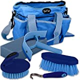 Blue 5 Piece Horse Pony Cob Grooming Kit Tack Bag Gift Set Stable Travel AND Tigerbox® Antibacterial Pen! - Knight Rider - amazon.co.uk