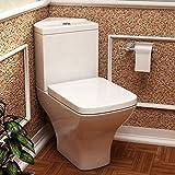 Moderno carmela Semi Flush to Wall Sartén esquina & Cisterna inodoro con asiento de cierre suave baño WC - acabado blanco brillante