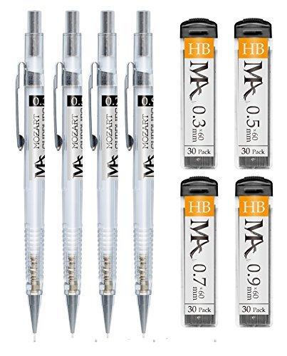 Praktisches Druckbleistift-Set – 4 Größen: 0,3 mm, 0,5 mm, 0,7 mm & 0,9 mm mit HB-Minen & Radierern zum Nachfüllen – Ideal zum Vorzeichnen, Skizzieren, für Kunstprojekte